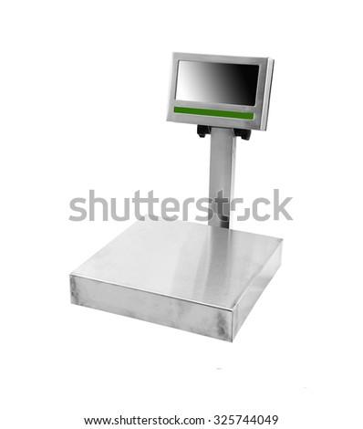 kitchen scale on white background - stock photo