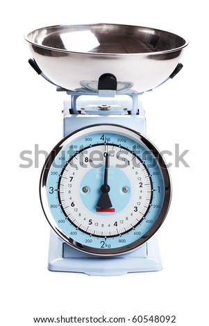 kitchen scale on white background - stock photo
