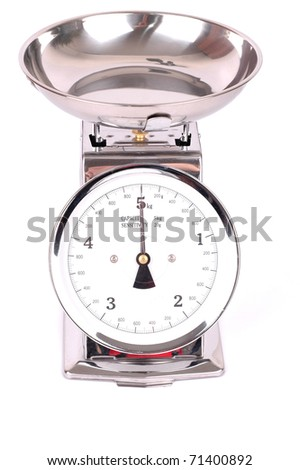 Kitchen scale on white background