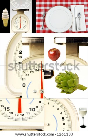 Kitchen scales, Foods, watching your weight, dieting. - stock photo