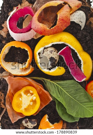 kitchen scraps in compost soil pile surface top view close up - stock photo