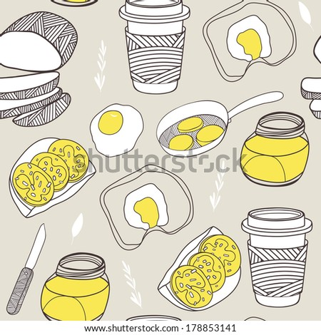 Kitchen seamless pattern. Cartoon background for kitchen and cafe stuff - stock photo