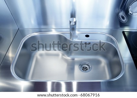 Kitchen silver sink modern decoration house stainless steel - stock photo