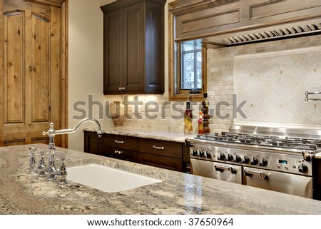 Kitchen Sink and Cooking Area Close Up - stock photo
