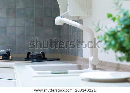 kitchen sink and decoration - stock photo