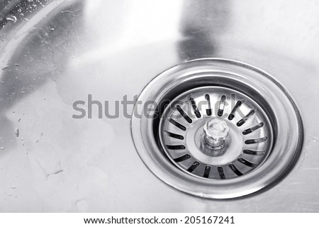 Kitchen sink close up - stock photo