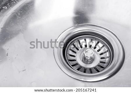 Kitchen sink close up - stock photo
