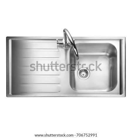 kitchen sink top view. Kitchen Sink Isolated On White Background. Stainless Steel Single Bowl Inset Sink. View Preview Top
