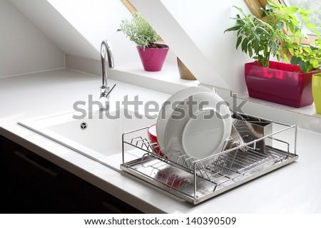 kitchen sink still life - stock photo