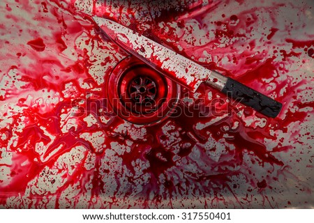Kitchen sink with knife and blood  for Halloween - stock photo