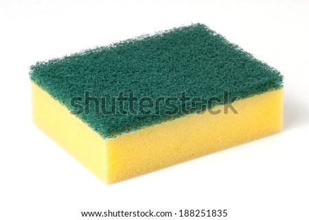 Kitchen sponge for washing dishes - stock photo
