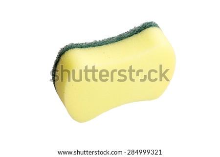 Kitchen sponge isolated on the white background. - stock photo