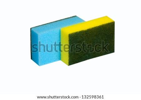 kitchen sponges isolated on white - stock photo