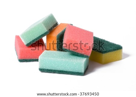 kitchen sponges isolated on white background