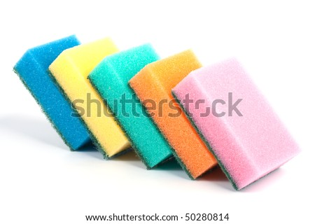 Kitchen sponges of different colors on white background