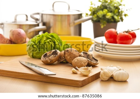 Kitchen still life, preparation for cooking, bright background - stock photo