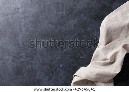 Kitchen stone table with towel. Top view with copy space - stock photo