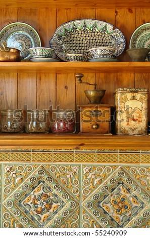 kitchen stuff on the shelves - stock photo