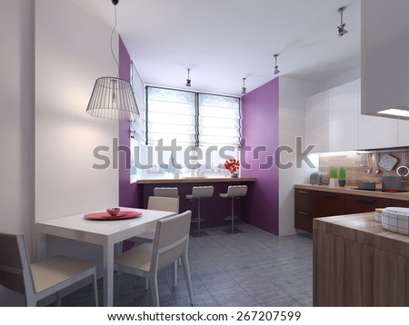 Kitchen style minimalism. 3d render