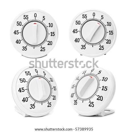 Kitchen timers set isolated on a white background - stock photo