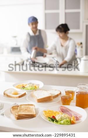 Kitchen to prepare the breakfast family - stock photo