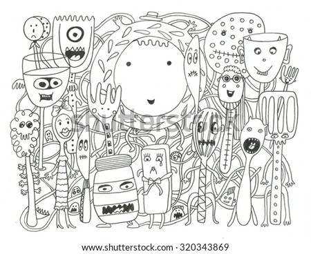Ocean Creatures Coloring Page Stock Illustration 322777241