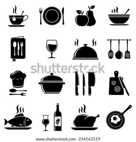Kitchen tools icons - stock photo
