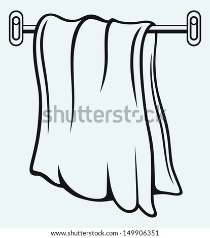 Kitchen towel isolated on blue background. Raster version - stock photo