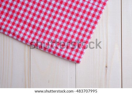 Kitchen towel style on wood background, blank space concept.