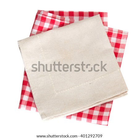 Kitchen towel table picnic cloth isolated on white. - stock photo