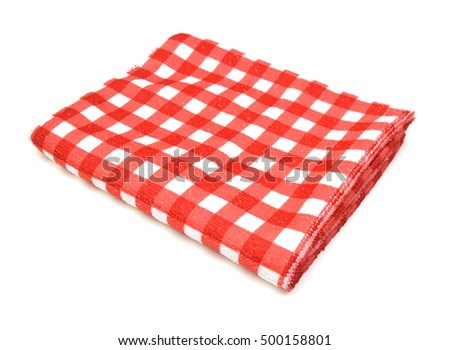 Kitchen towel table picnic cloth isolated on white.