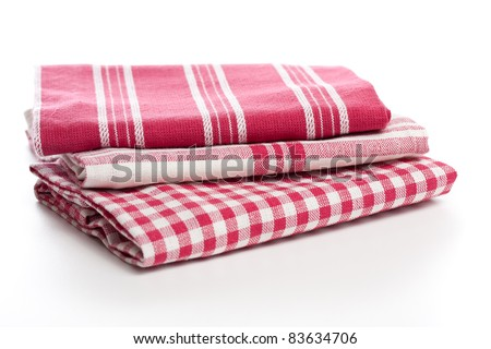 Kitchen towels on white background - stock photo