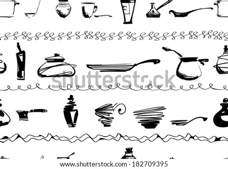 Kitchen utencils seamless ornament - stock photo