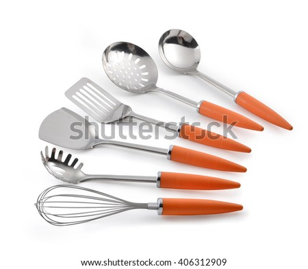 Kitchen utensil collection isolated on white background. - stock photo