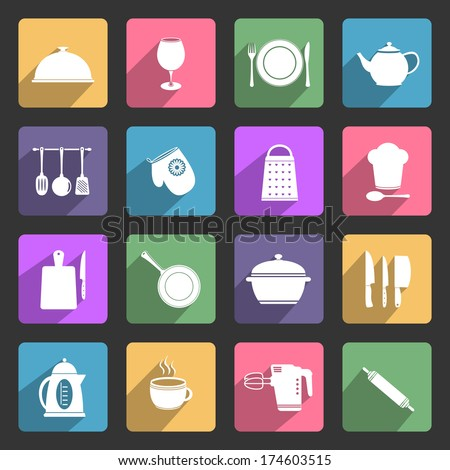 Kitchen utensil flat icons set - stock photo