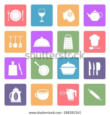 Kitchen utensil icons  - stock photo