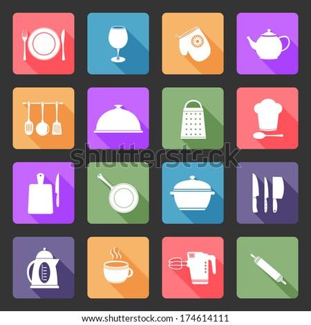 Kitchen utensil icons in flat design style. - stock photo