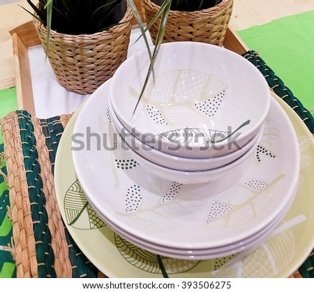 Kitchen Utensil, Set of Porcelain Dishes, Bowls and Plates Preparing for Serve Hot and Cold Food. - stock photo
