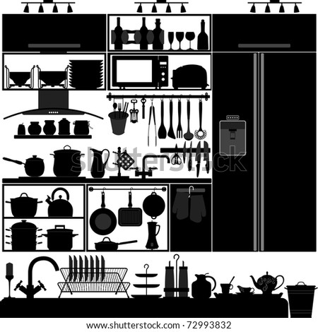 Kitchen Utensil Tool Equipment Interior Design Black Silhouette - stock photo