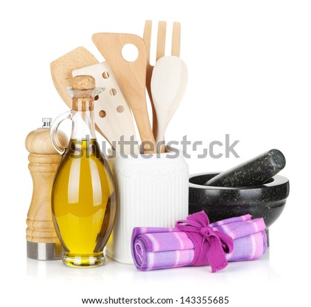 Kitchen utensils and condiments. Isolated on white background - stock photo