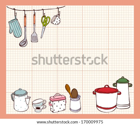 Kitchen utensils and equipment set against a graph paper background. - stock photo