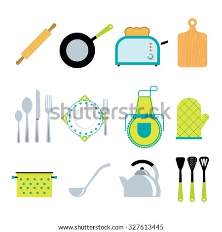 Kitchen utensils gadgets and accessories icons collection with toaster and rolling pin flat abstract isolated  illustration - stock photo