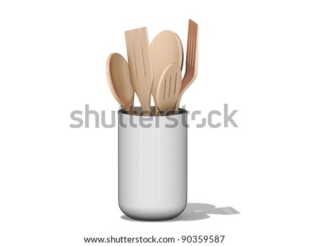 Kitchen Utensils in a cup on a White Background