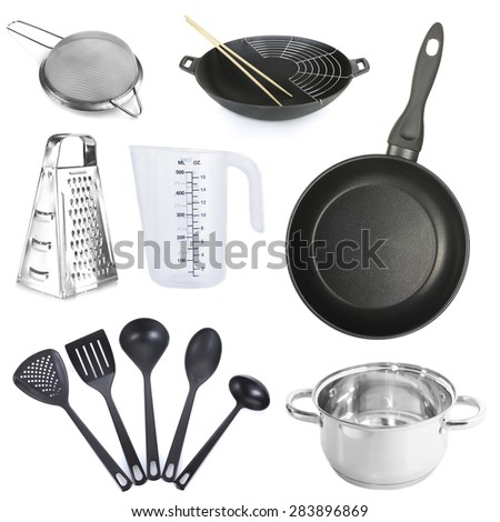 Kitchen utensils isolated on white - stock photo