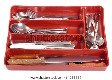 Kitchen utensils isolated on white, focus on knife - stock photo