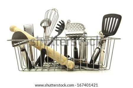 Kitchen utensils on a white background - stock photo