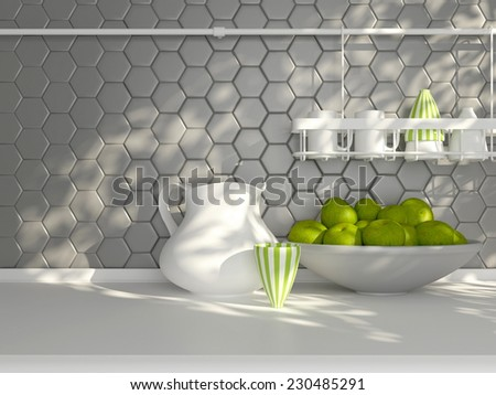 Kitchen utensils on the white worktop. Ceramic kitchenware in front of modern wall tile. - stock photo