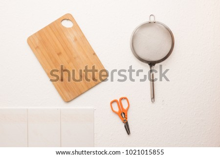 kitchen utensils organized
