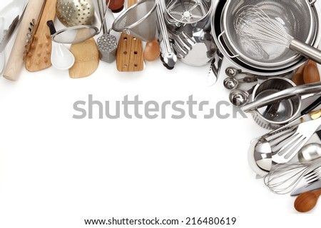 Kitchen Utensils/Various Kitchen Utensils isolated on white - stock photo