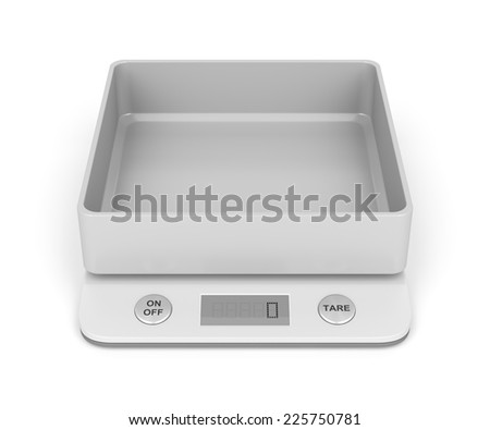 Kitchen weight scale on white background - stock photo